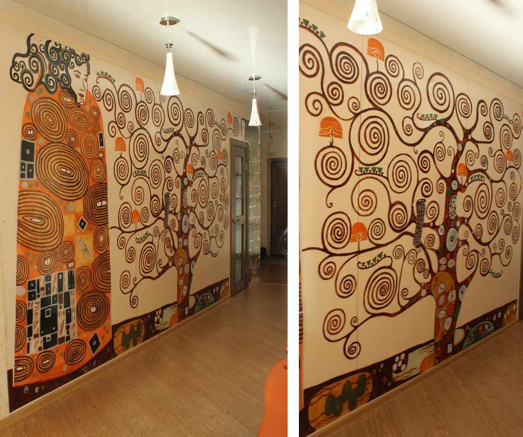 Роспись на стене своими руками фото